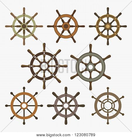 Ship's wheels vector icons set. EPS8 illustration.