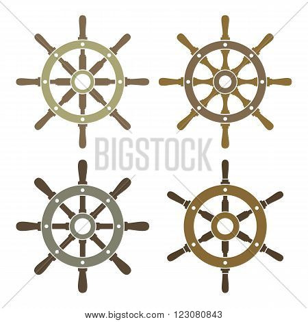 Ship's or boat's steering wheels vector icons set. EPS8 illustration.