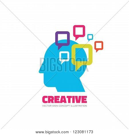 Creative vector logo concept illustration. Idea logo. Human head logo icon. Learning logo. Education logo sign. Thinking logo sign. Brain logo sign. Imagination logo sign. Speach bubble logo design.