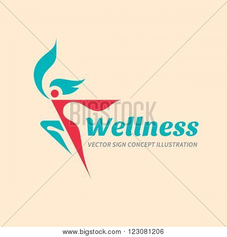 Wellness - vector logo concept illustration. Human character logo sign. Woman logo. Female logo. Sport fitness logo sign. Health logo. Healthy logo. Healthcare logo sign. Vector logo template.