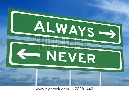 always or never concept on the road signpost 3D rendering