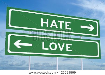 love or hate concept on the road signpost 3D rendering