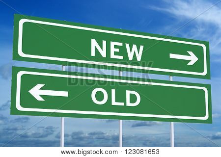 new or old concept on the road signpost 3D rendering