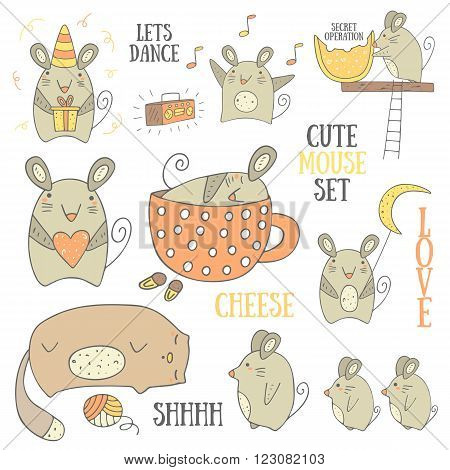 Cute hand drawn doodle mouse set including mouse with gift mouse with heart mouse with moon mouse with cheese sleeping mouse dancing mouse mom mouse with babies near the cat. Mice icons