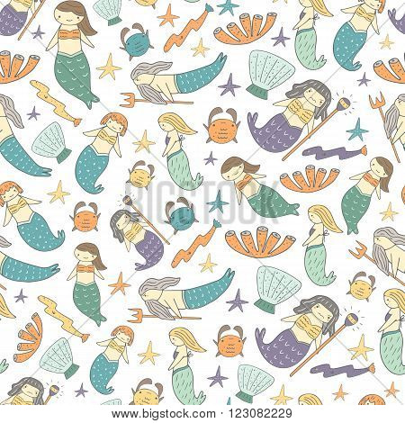 Cute hand drawn doodle mermaid fairy tale seamless pattern with girl mermaid father mermaid witch mermaid girlfriends mermaids shell crab coral eel
