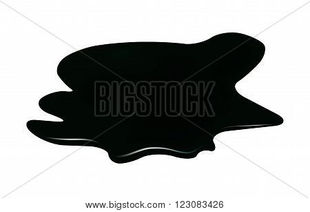 Puddle of oil slick spill clipart. Brown stain plash drop. Vector illustration isolated on the white background