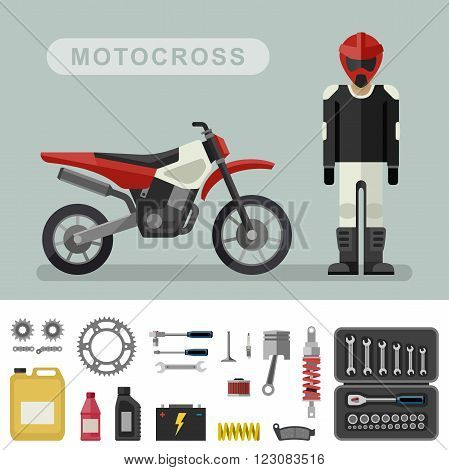 Motoctoss bike with parts in flat style. Vector illustration of motocross bike with biker. Moto parts and tools icons.