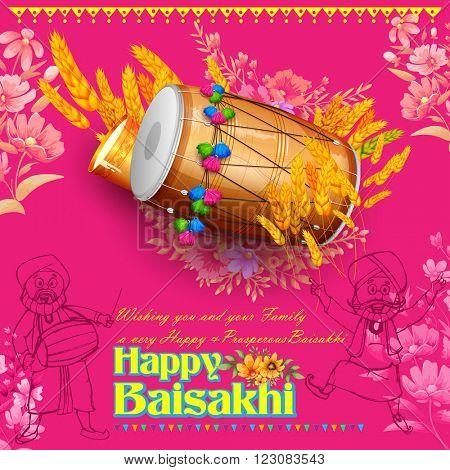 illustration of Punjabi New Year Happy Baisakhi background