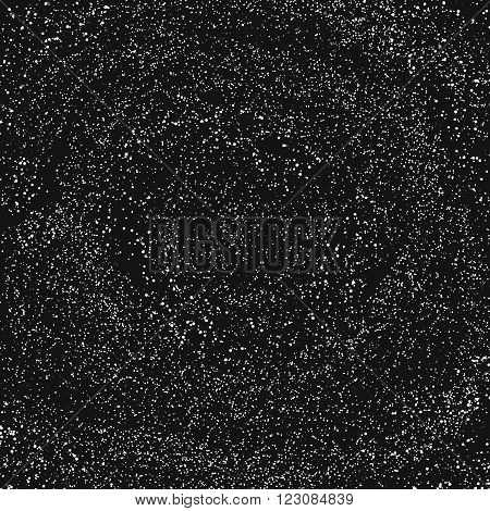 Black particles background. Abstract dust background. Grunge vector texture.