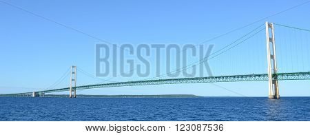 A Panoramic View of Michigan's Mackinac Bridge
