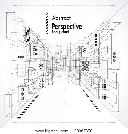 Abstract construction perspective background suitable for interior, architecture and designing.