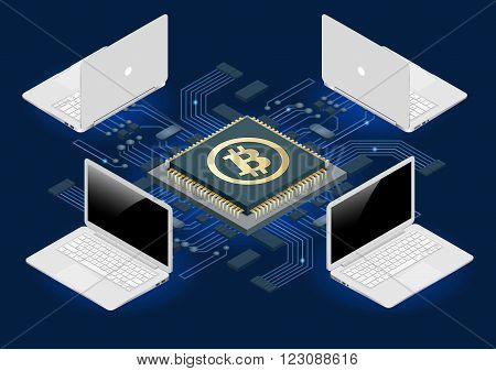 Bitcoin mining equipment. Digital Bitcoin. Golden coin with Bitcoin symbol in electronic environment. Flat 3d isometry isometric online mining bitcoin concept