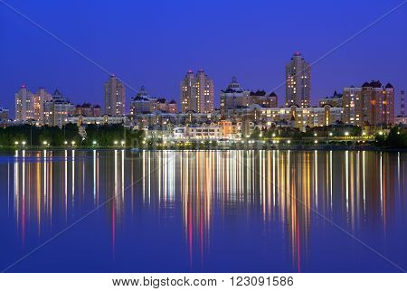 Obolon embankment of the Dnieper River in Kyiv in the evening. Kiev Capital of Ukraine