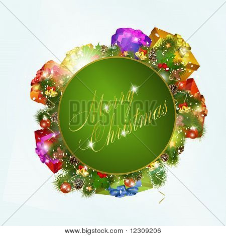 Merry christmas greeting card with gift boxes. Vector eps10 illustration poster