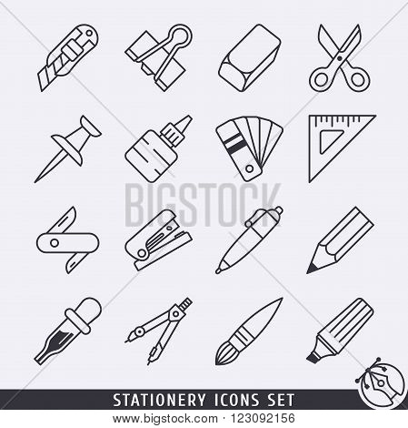 Stationery icons set black and white lineart