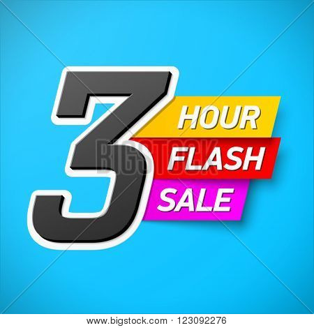 3 Hour Flash Sale banner. Special offer, big sale, clearance. Vector.