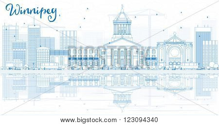Outline Winnipeg Skyline with Blue Buildings and Reflections. Business Travel and Tourism Concept with Modern Buildings. Image for Presentation Banner Placard and Web Site.