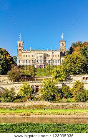 Albrechtsberg Castle in Dresden a part from the three Elbe river hillside castles
