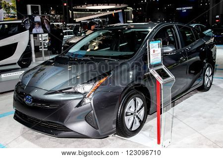 NEW YORK - March 23: Toyota Prius exhibit at the 2016 New York International Auto Show during Press day,  public show is running from March 25th through April 3, 2016 in New York, NY.