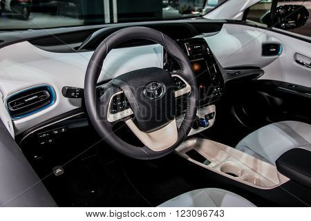 NEW YORK - March 23: A Toyota Prius interior on exhibit at the 2016 New York International Auto Show during Press day,  public show is running from March 25th through April 3, 2016 in New York, NY.