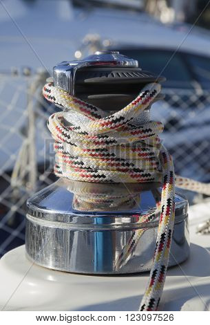 Winch with rope on the yacht, close-up