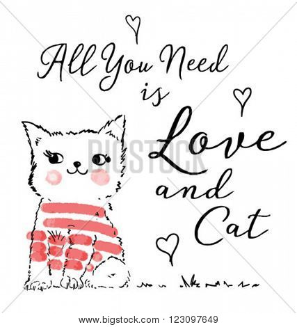 cute cat with type for kids clothing