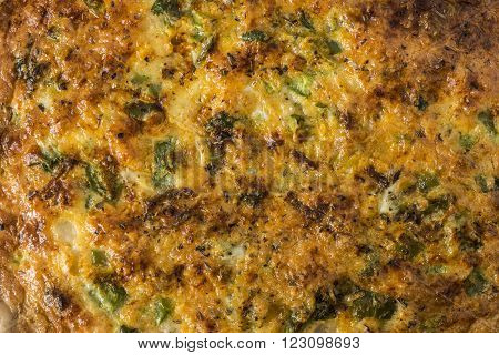 Quiche Texture - straight on view of a quiche / egg bake