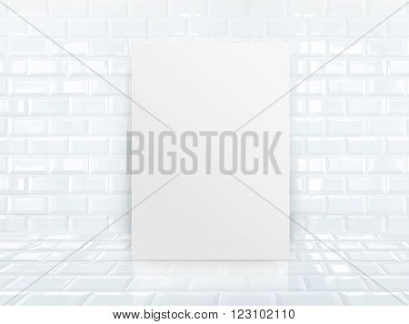 Paper Poster Frame At Tiles Ceramic Wall And Floor
