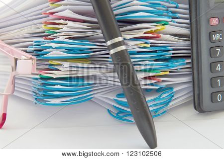 Blur Pen And Step Pile Of Paperwork