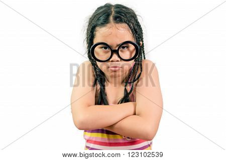 Little Girl Looking Very Angry Isolated