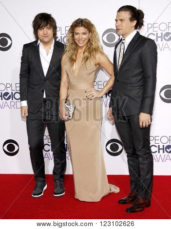 Reid Perry, Kimberly Perry and Neil Perry of The Band Perry at the 41st Annual People's Choice Awards held at the Nokia L.A. Live Theatre in Los Angeles on January 7, 2015.