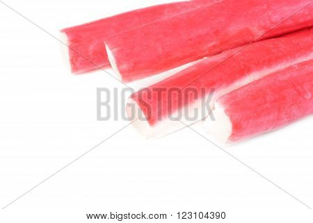 Some crab sticks isolated on white background