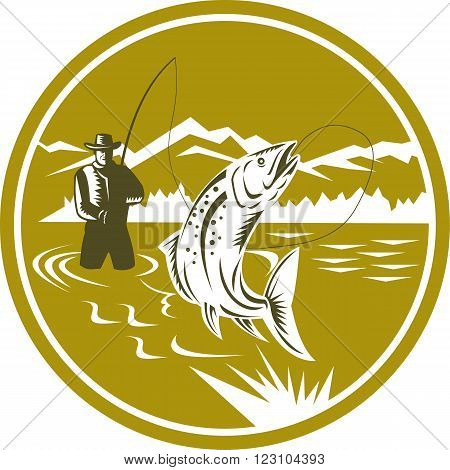 Illustration of a fly fisherman fishing casting rod and reel reeling trout fish viewed from front with mountains set inside circle done in retro style