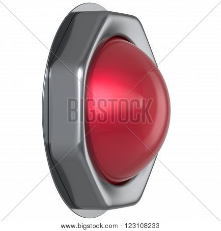 Button red start turn off on action military game panic push down activate ignition power switch electric design element metallic shiny blank led lamp. 3d render isolated