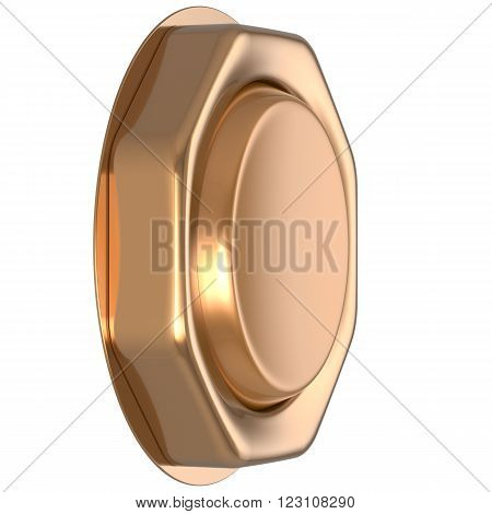 Button golden game win casino luck start turn off on action push down activate ignition power switch electric design element metallic shiny blank gold yellow luxury. 3d render isolated