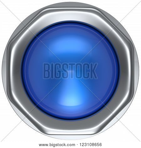 Button blue push down activate ignition military game panic start turn off on action power switch electric design element metallic shiny blank led lamp. 3d render isolated