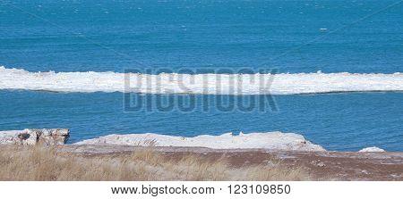Lake Michigan Ice Floe in February Along the Shoreline