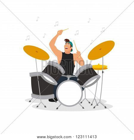 young drummer playing the drum kit. isolated illustration. vector illustration.