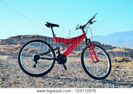 Modern Red Full Suspension Mountain Bike MTB Bicycle ** Note: Visible grain at 100%, best at smaller sizes