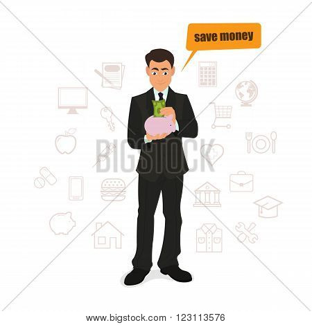 businessman puts the saved money in a piggy bank. vector illustration.