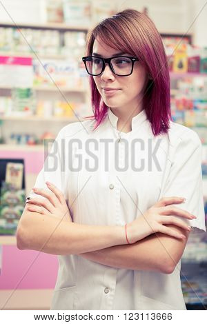 Redhead Pharmacist With Eyeglasess