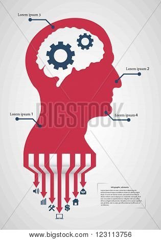 Abstract creative concept vector head siluet with gears. For web and mobile application isolated on background, illustration template design, Business infographic and social media.