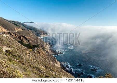 low fog on the coast of the Pacific ocean Highway 1 California