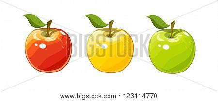 Ripe juicy apples. Set of vector illustration. Isolated white background