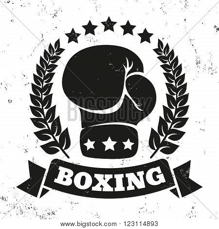 Vintage logo for a boxing on grunge background