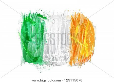 Flag of Ireland made with colorful splashes, isolated on white background. Imitation of watercolor. Ireland background with grunge smears and splashes.