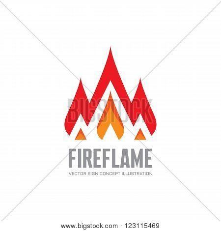 Fire flame - vector logo concept illustration. Abstract flame logo sign. Hot logo sign. Warm logo sign. Dangerous sign. Vector logo template. Design element.