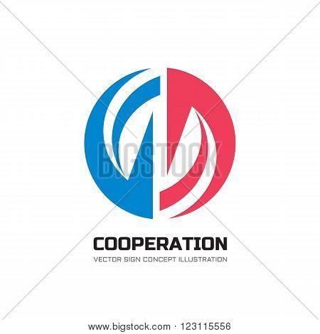 Cooperation abstract vector logo concept illustration. Abstract stripes in circle. Sphere vector logo. Hi-tech vector logo. Geometric logo sign. Collaboration logo sign. Vector logo design template.