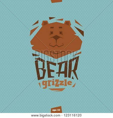 Bear grizzle illustration in flat cartoon style