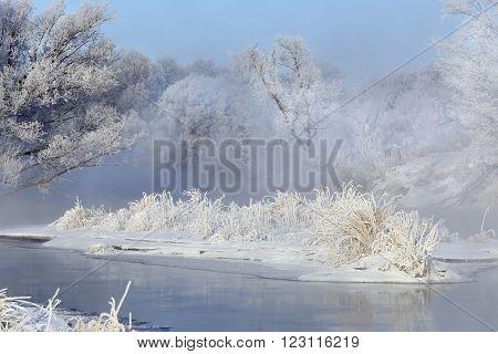 Fog Over Winter River